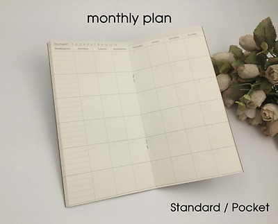 Monthly Planner Refill for Standard Size Midori Travelers Notebook Inserts