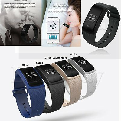 OLED Bluetooth Blood Pressure Heart Rate Monitor Waterproof SmartWatch Band IP67