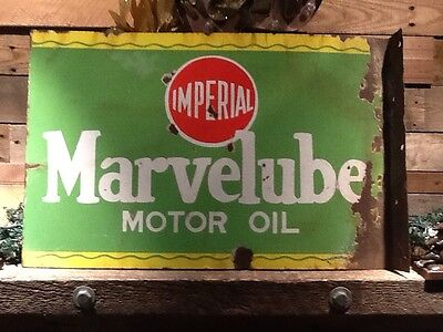 imperial marvelube motor oil double sided porcelain flange sign