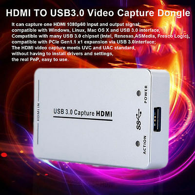 XI100D UVC 1080P 60FPS to USB3.0 Video HDMI Capture Dongle Card Box For Windows@