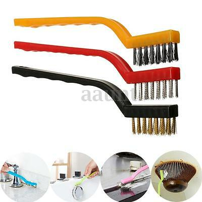 3pcs Handy Brush Set Stainless Steel Nylon Brass Wire Brushes Cleaning Rust Kit
