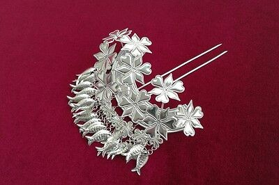 Palace style Handmade Miao Silver Flowers, fish tassel Hairpin Headdress