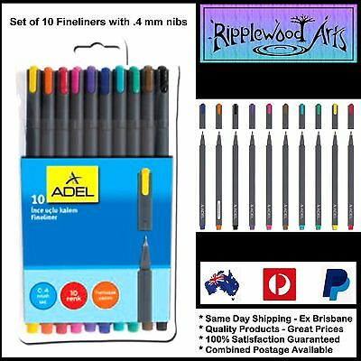 ADEL Fineliners - .4mm fine tip - Set of 10 colors