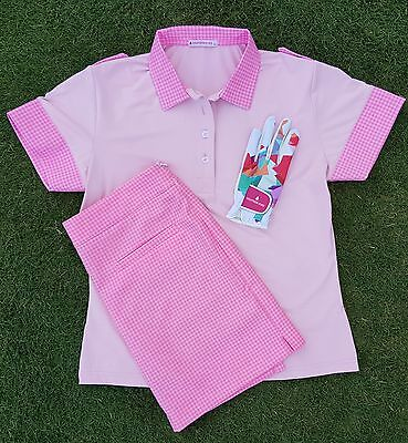 Ladies Golf Polo shirt Gingham Pink White Shirt Sizes 6 - 18