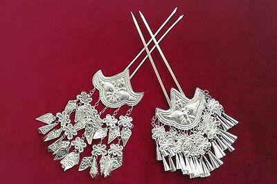 Palace style Handmade Miao Silver butterfly tassel Hairpin Headdress 1 pair