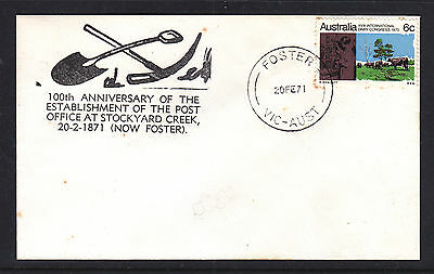 SOUVENIR COVER: 1971 100th ANN OF POST OFFICE AT STOCKYARD CREEK (NOW FOSTER)