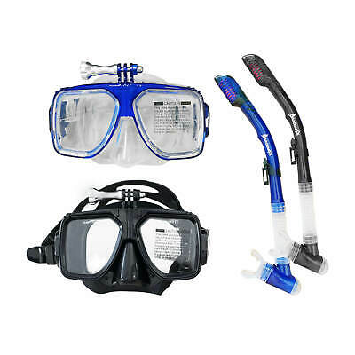 Blackhawk Dry Snorkel Tempered Glass Mask 2Pc Snorkeling Set With Gopro Mount