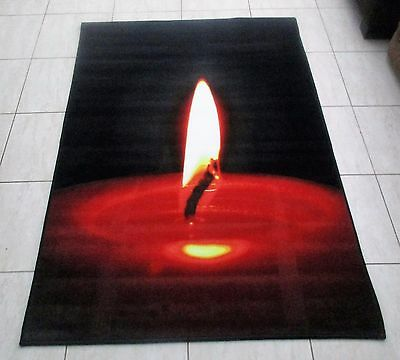 New Black/red Candlelight Print Turkish Floor Themed Rug 100X150Cm