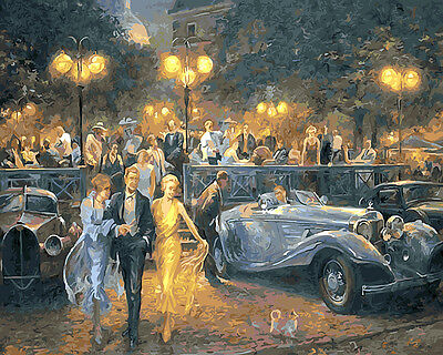 Framed Painting by Number kit Banquet In The Open Air Dinner Party DIY BB7652