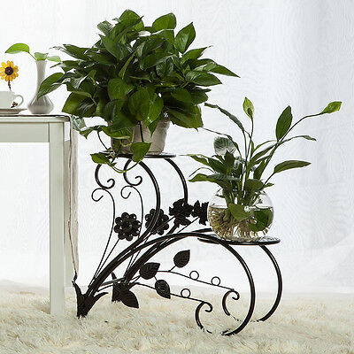 Metal Plant Flower Pot Stands Two Tiers Wrought Iron Shelf Holders Indoor Patio