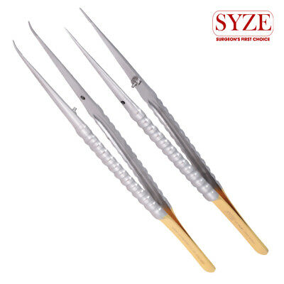 1X Oral Surgery Straight & Curve Micro Pointed Tweezers Veterinary Instruments