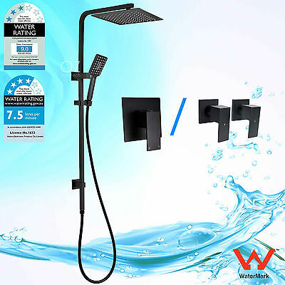 WELS 2 In 1 Black Thin Square Shower Head Handheld Sliding Rail Mixer Tap Set