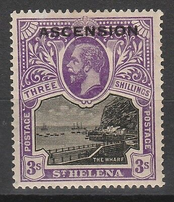 Ascension 1922 Kgv Overprinted The Wharf 3/- Top Value
