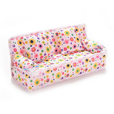 Mini Furniture Sofa Couch +2 Cushion For  Dolls House Accessories Beauty