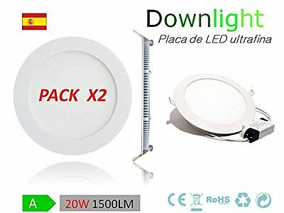 PACK 2 DOWNLIGHT LED 20W EXTRAPLANO ALTA INTENSIDAD.Luz Fría