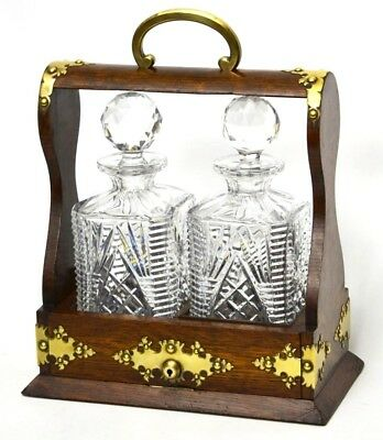 Antique Victorian Oak Tantalus and A Pair of Cut Glass Spirit Decanters [PL2712]