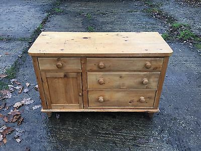Antique Pine Cupboard/dresser  With 4 Drawers