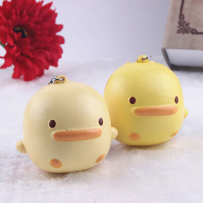 1x Key/Bag/Phone Straps Cute Yellow Duck Kawaii Buns Bread Charms