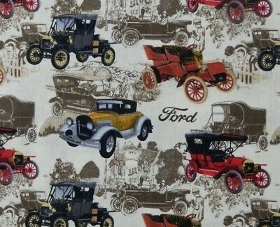 Quilting Patchwork Sewing Fabric VINTAGE FORD CARS Cotton 50x55cm FQ NEW