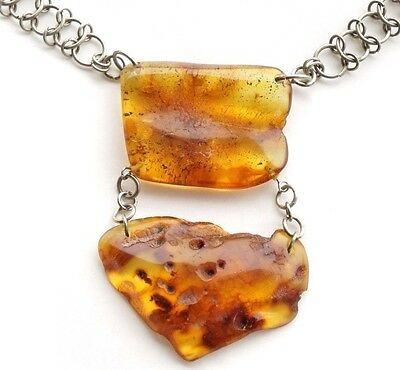 Natural Baltic amber with inclusions big double  pendant melchior necklace