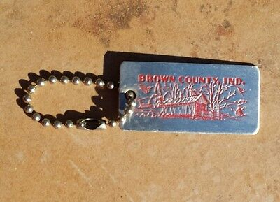 Vintage Brown County Indiana Covered Bridge Etched Aluminum Keychain