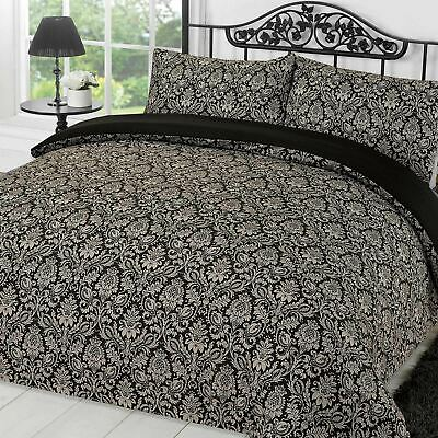 Damask Quilt Cover with Pillowcase Duvet Bedding Set Sanctuary Black White