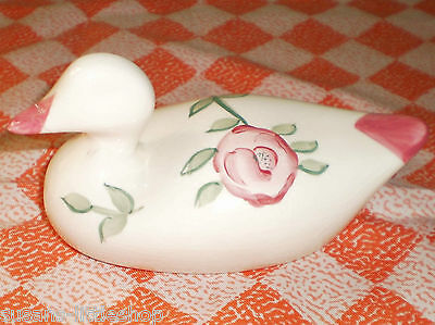 Duck Hand Painted Flower Pattern Pottery Duck Bird Ornament Figurine