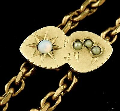 """Victorian Slide Chain Opal Seed Pearl Gold Filled Signed Long 50"""" ~ Lot 998"""