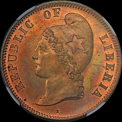 Finest & Only One @ Pcgs & Ngc Pf65 Rb 1889 Liberia 25 Cent Bronze Pn20 Pattern