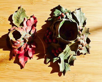 Poinsettia & Holly CAST IRON METAL Candle Holders LVL Lula Verhoren Lavell