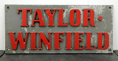 RARE Large Taylor-Winfield Ohio Cast Metal Builder Plate Industrial Welding Sign