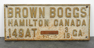 RARE Brown Boggs Foundry & Machine Co. Builder Plate Industrial Sign Plaque