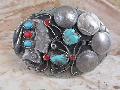 OLD PAWN Buffalo Nickel Indian Head Belt Buckle, Turquoise & Red Coral, PW3