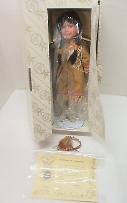 """Kingstate Porcelain 16"""" Hand Painted Doll Native American Indian & Baby NIB COA"""