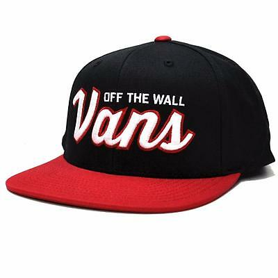 4c8eb264 Vans Off The Wall Wilmington Mens Black Red 100% Cotton Snapback Hat NWT  OSFA