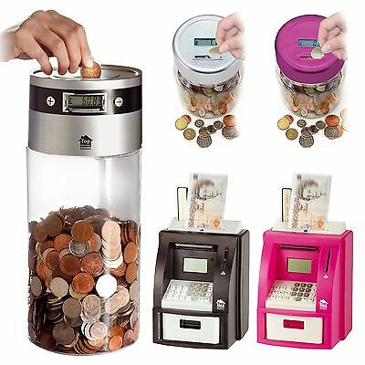 Digital ATM Money Savings Bank LCD Display Coin Counter Jumbo Jar Sorter Box