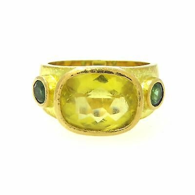 Elizabeth Locke Gold Citrine Green Tourmaline Ring