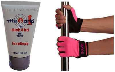 Tite Grip 1 for a Mighty Grip + GoGrip Hot Pink Pole Fitness Gloves x