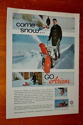 Canadian 1970 Ariens Snowblower & Snowmobile Ad - Vintage Winter Retro 70S