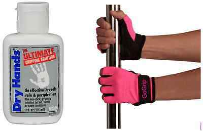 Dry Hands Ultimate Grip Solution (2oz) + GoGrip Hot Pink Pole Fitness Gloves