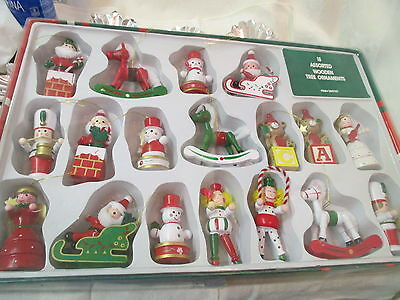 Vintage 18 assorted Wooden Christmas Ornaments MIB Circus Santa Rocking Horse