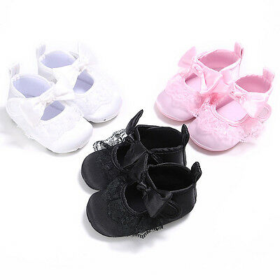 Baby Girl Newborn Bow Canvas Sneakers Anti-slip Soft Crib Sole Toddler Shoes