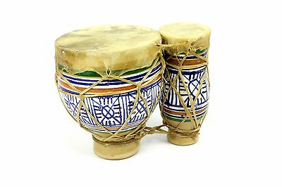 """Vintage 5"""" Double Hand Painted Tbilat Tam Tam Bongo Pottery Drums Animal Skin"""