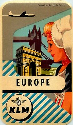 KLM AIRLINE to EUROPE - Beautiful Old and ORIGINAL Luggage Label, c. 1955