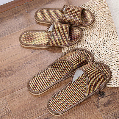 Women Men Bamboo Slippers OpenToe Indoor Woven Sandals Slides Home Shoes Scuffs