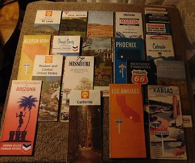 Lot of 20 Vintage Gas Station Road Maps Shell Texaco Martin Conoco Chevron +