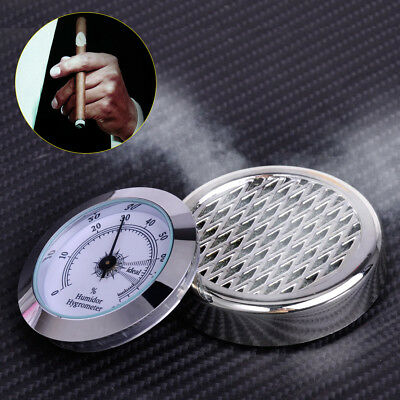 Round Silver Color Smoking Tobacco Hygrometer + Humidifier for Cigar Humidors