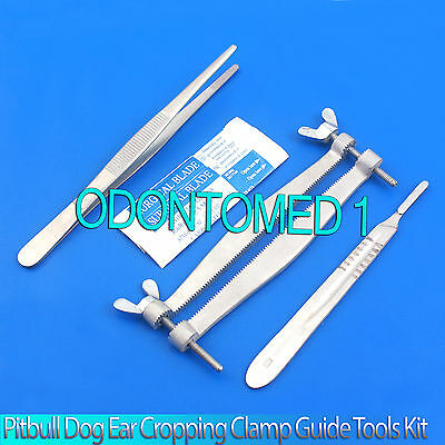 Pitbull Dog Ear Cropping Clamp Guide Tools Kit, Veterinary Instruments