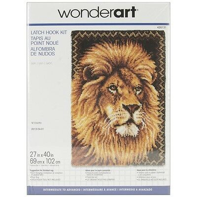 "Spinrite 426131C Wonderart Latch Hook Kit 27""X40""-Lion"