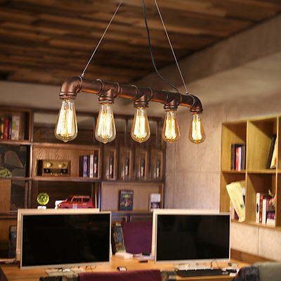 Retro Style Industrial Water Pipe Shaped Pendant Lamp Hanging Light 5 Lights New